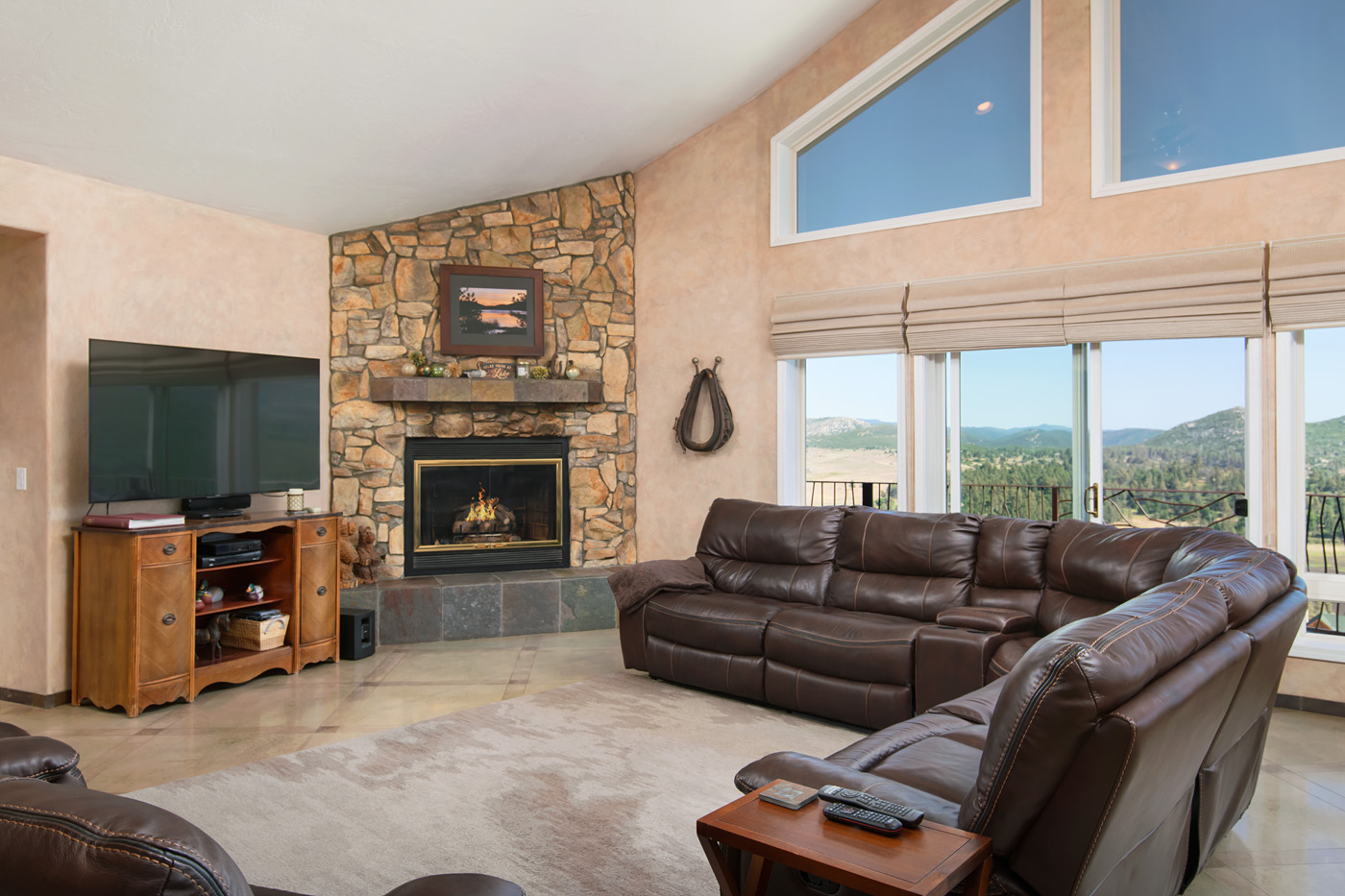Fireplace and view