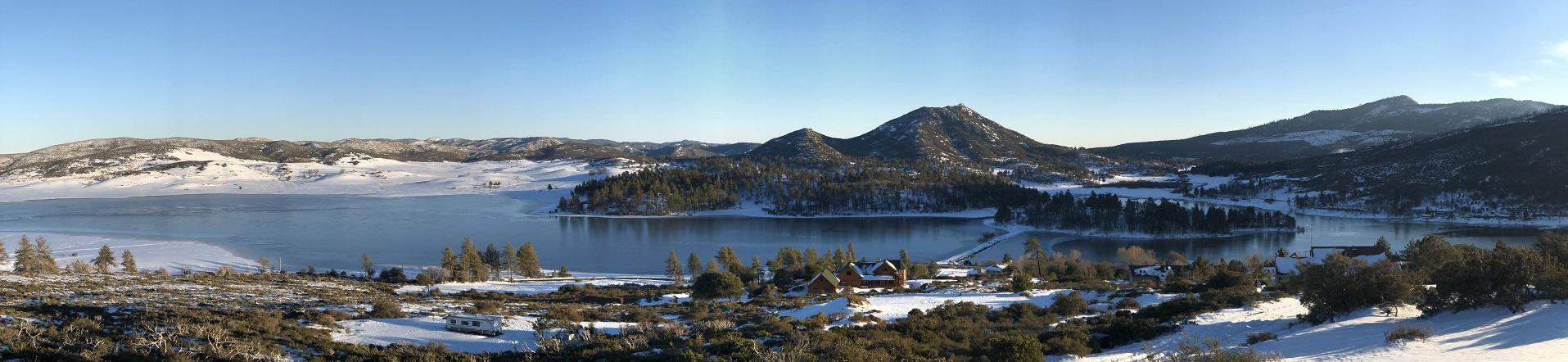 Snow lake scene